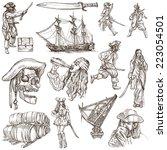 pirates  buccaneers and sailors ...   Shutterstock . vector #223054501