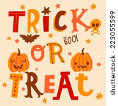 bright halloween card in vector.... | Shutterstock .eps vector #223055599