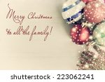 vintage christmas card with... | Shutterstock . vector #223062241