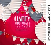 birthday card with balloons in... | Shutterstock .eps vector #223071445