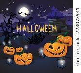halloween background   vector... | Shutterstock .eps vector #223073941