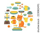 Stock vector cat stuff collection cat toys cat food isolated on white background 223082491