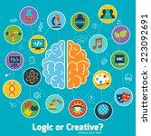 brain left logic and right... | Shutterstock .eps vector #223092691