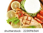 roast salmon fillet with cheese ... | Shutterstock . vector #223096564