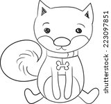 black and white hand drawn cute ... | Shutterstock .eps vector #223097851