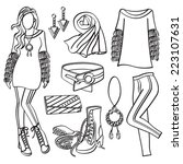 fashion lady with clothing and...   Shutterstock .eps vector #223107631