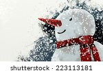 Snowman With Falling Snow ...