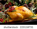 roasted turkey garnished with... | Shutterstock . vector #223118731