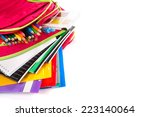 purple backpack with school... | Shutterstock . vector #223140064