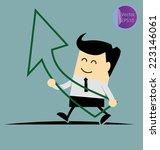 businessman holds increase... | Shutterstock .eps vector #223146061