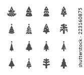 christmas tree icon set 2 ... | Shutterstock .eps vector #223160875