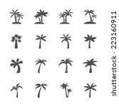 coconut tree icon set  vector... | Shutterstock .eps vector #223160911