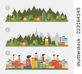 flat design urban landscape | Shutterstock .eps vector #223164145
