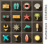 flat icons set for web and... | Shutterstock .eps vector #223185061
