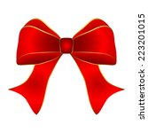 Red Bow With Gold Trim On A...