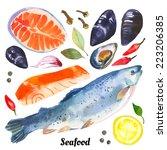 Watercolor Set Of Sea Food Wit...