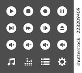 multimedia player icon set ...