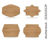 set of shapes wooden sign... | Shutterstock .eps vector #223210129