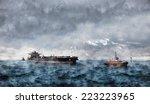 Tanker Ship At Sea During A...