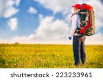 hiker with backpack standing in ... | Shutterstock . vector #223233961
