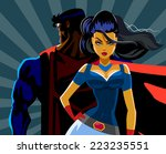 superhero couple  male and... | Shutterstock .eps vector #223235551