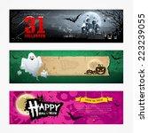 happy halloween banner... | Shutterstock .eps vector #223239055