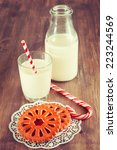 cookies with milk on the table... | Shutterstock . vector #223244569