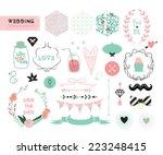 wedding set design elements... | Shutterstock .eps vector #223248415