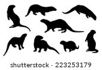 Otter Silhouettes On The White...