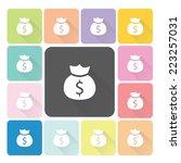 money bag icon color set vector ...