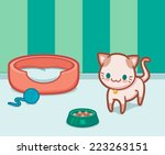 cute siamese cat with pet... | Shutterstock .eps vector #223263151
