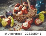 Chestnuts In Basket And Vials...