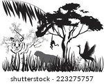 tiger in jungle in india... | Shutterstock .eps vector #223275757