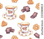seamless tea pattern with tea... | Shutterstock . vector #223280815
