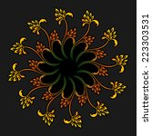 floral round ornament for print ... | Shutterstock . vector #223303531