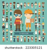 set of 50 professions   eps10... | Shutterstock .eps vector #223305121