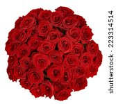 Stock photo red roses bouquet isolated on a white background with clipping path 223314514