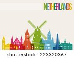 travel netherlands famous... | Shutterstock .eps vector #223320367
