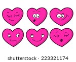 set of cartoon heart emotions....   Shutterstock .eps vector #223321174