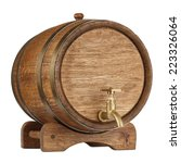 Vintage Wooden Barrel Isolated...