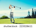 golfer playing on beautiful... | Shutterstock . vector #223328611