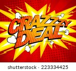 crazy deal design  comics style. | Shutterstock .eps vector #223334425