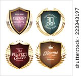 golden premium quality labels  | Shutterstock .eps vector #223343197