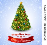 christmas fir tree with... | Shutterstock .eps vector #223344991