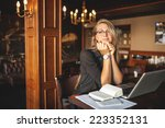 business woman in glasses... | Shutterstock . vector #223352131