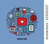 flat line icons set of medicine | Shutterstock .eps vector #223352227