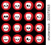 Halloween Skull Red Icon Set