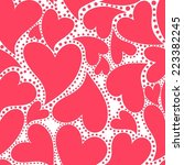 wallpaper with red hearts for... | Shutterstock .eps vector #223382245