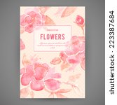 background with peony flowers.... | Shutterstock .eps vector #223387684