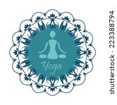 yoga silhouette in the lotus... | Shutterstock .eps vector #223388794